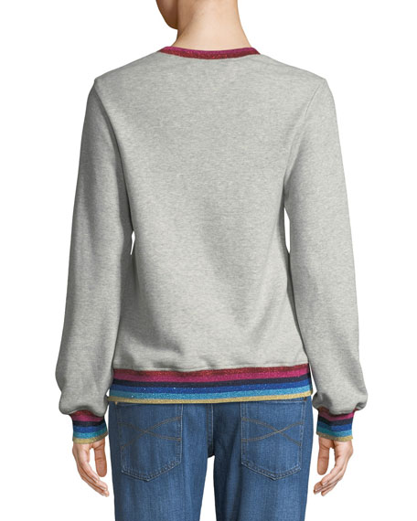Hola LA Sweatshirt w/ Striped Trim