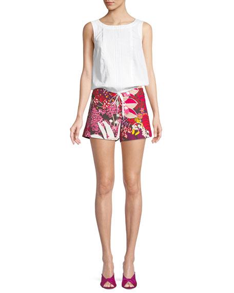 Corbin Flor de Jalisco Floral-Print Stretch-Cotton Shorts