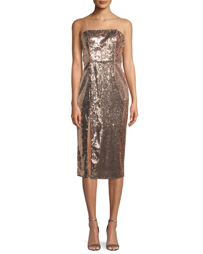 Sequin Slip Cocktail Midi Dress w/ Slit