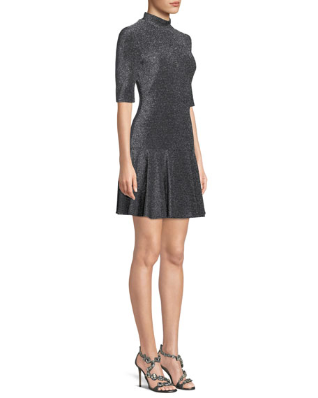 Image 3 of 3: Reeder Mini Dress in Metallic Knit