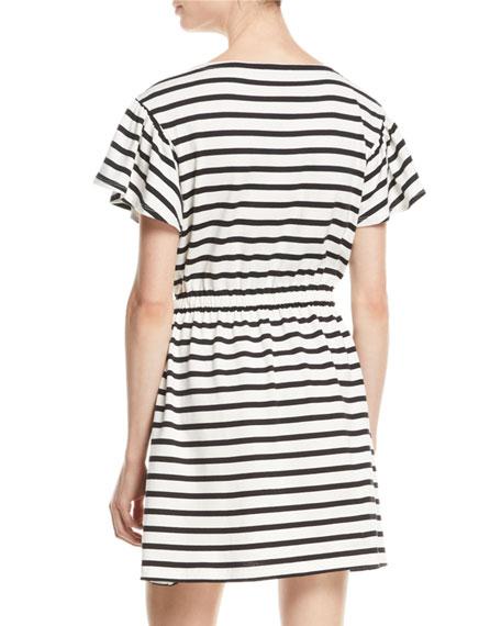 drop-shoulder striped dress