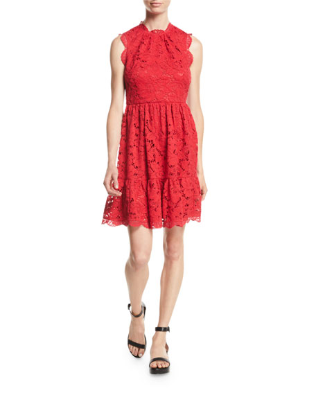 poppy field lace dress w/ scalloped trim