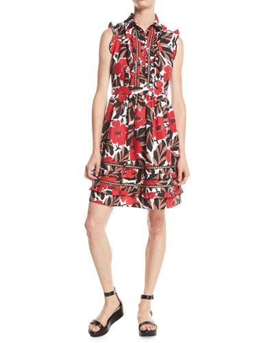 poppy field sleeveless shirt dress