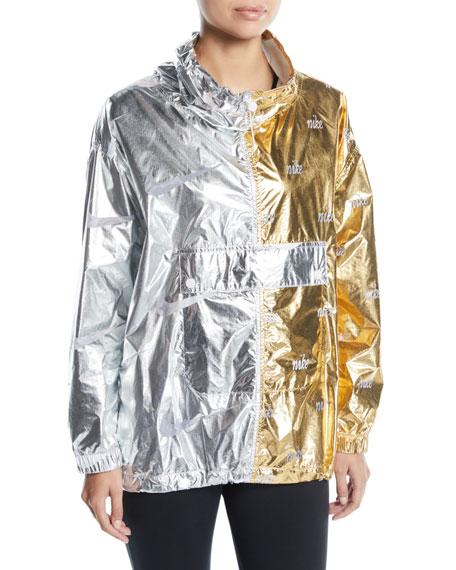 Graphic Two-Tone Metallic Pullover