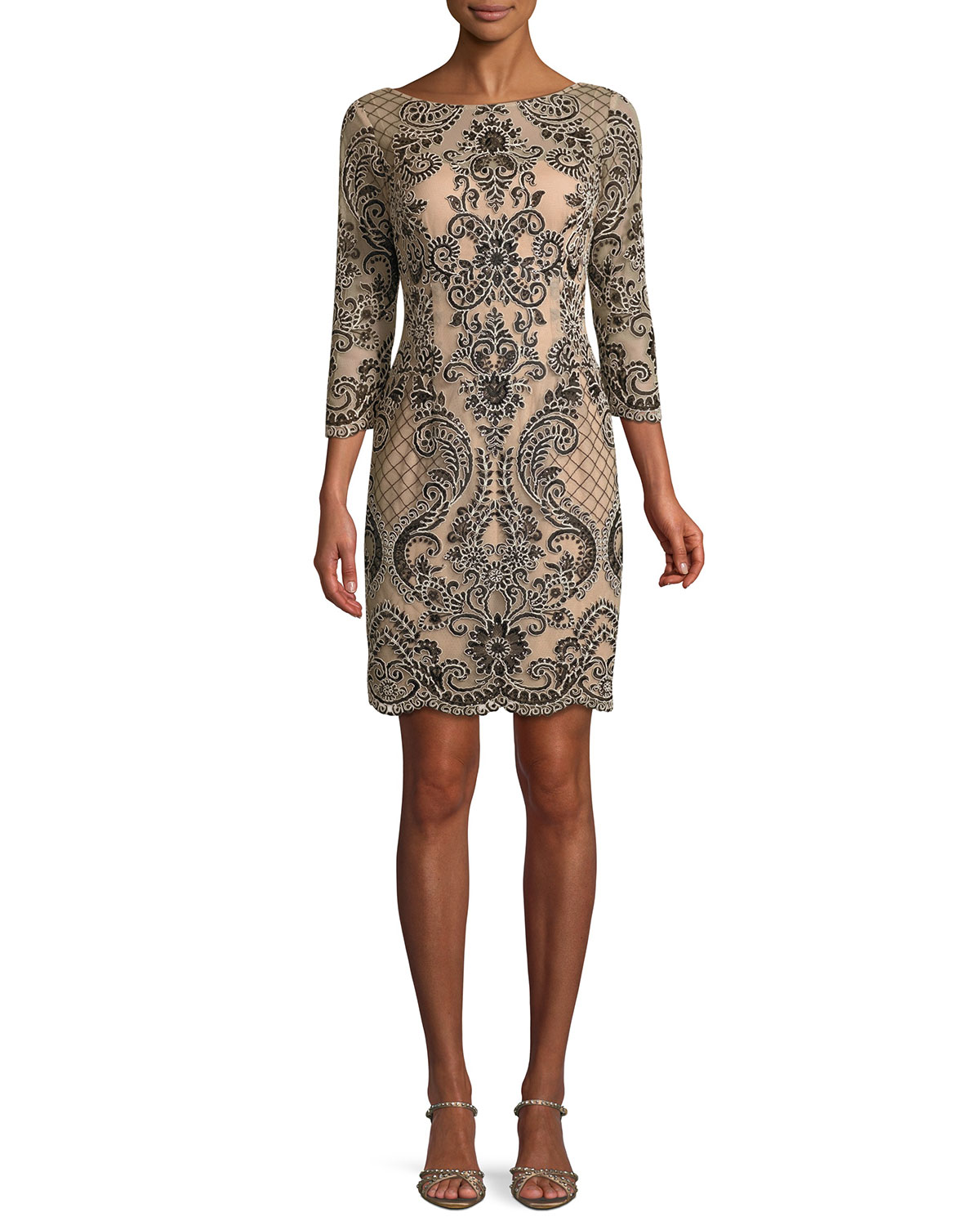 c8435239d2f Aidan Mattox Boat-Neck 3 4-Sleeve Damask Embroidered Sheath Cocktail Dress