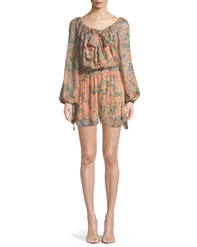 Tempest Gathers Floral Long-Sleeve Romper