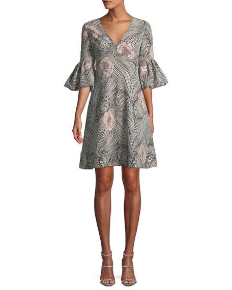 Aidan Mattox V-Neck Bell-Sleeve Mixed-Media A-Line Cocktail Dress