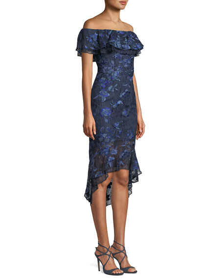 Aidan Mattox Off-the-Shoulder Floral-Embroidered Fitted Cocktail Dress w/ Flounce Hem