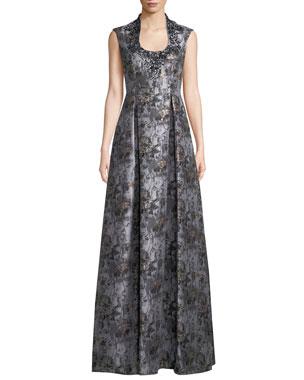 eb0c1ffc1276a Aidan Mattox Jacquard Ball Gown w/ Embellished Collar