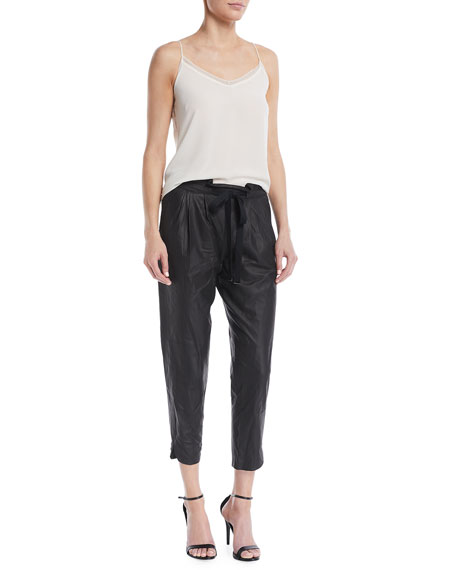 Allyn Leather Drawstring Jogger Pants