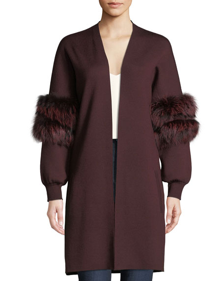 Joanna Long Cardigan Sweater with Fur Trim
