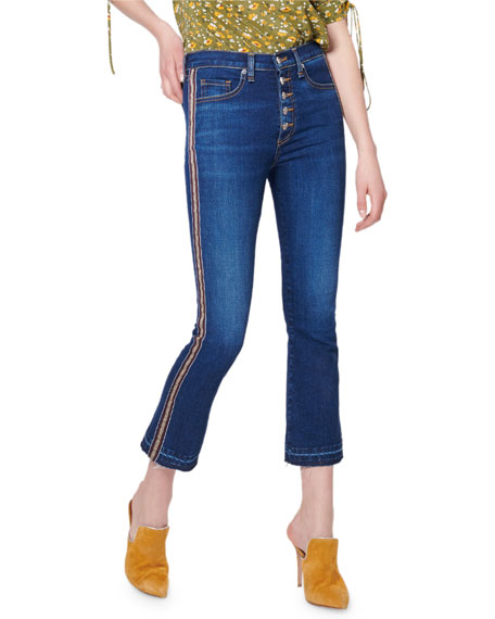 Carolyn Cropped Baby-Boot Frayed Jeans w/ Tuxedo Stripes