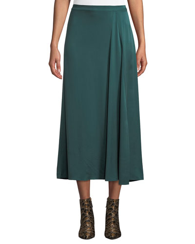 Godet-Pleat Silk Charmeuse Skirt