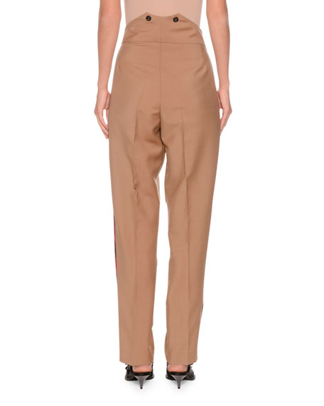 Pleated Tapered-Leg Mohair-Blend Trousers w/ Side Stripes