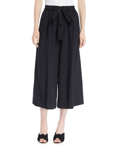 Wool Drawstring Wide-Leg Cropped Pants