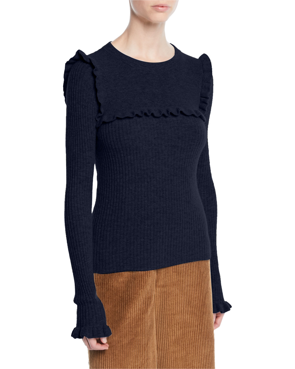 735a9b186 See by Chloe Crewneck Fitted Ribbed Alpaca-Blend Sweater w  Ruffled ...