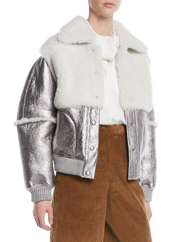 Metallic Leather Shearling Bomber Jacket