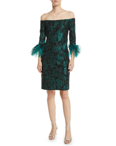 Off-the-Shoulder Jacquard Feather-Cuff Dress