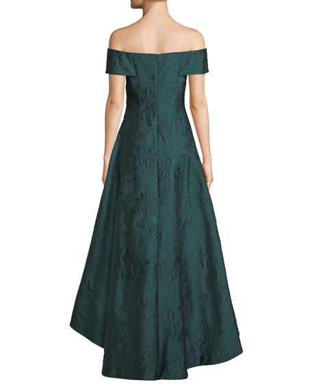Rickie Freeman for Teri Jon Jacquard Off-the-Shoulder High-Low Dress