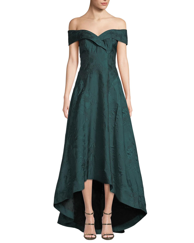 67de47c4ea0 Rickie Freeman for Teri Jon Jacquard Off-the-Shoulder High-Low Dress ...