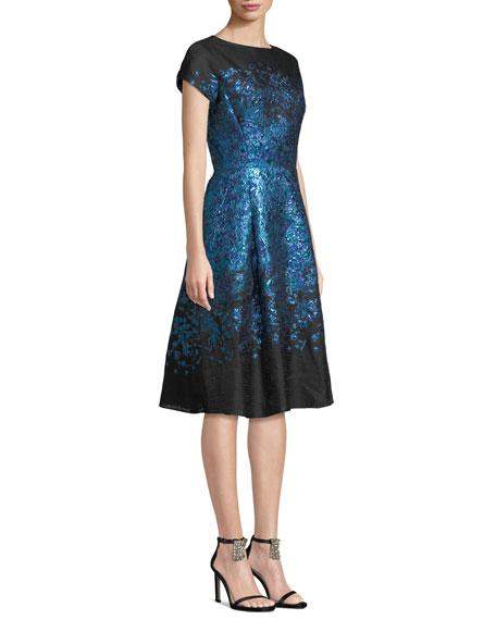 Rickie Freeman for Teri Jon Metallic Jacquard Dress w/ Full Skirt