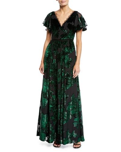 V-Neck Velvet Burnout Lace-Trim Gown