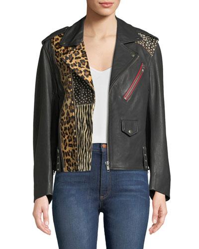 Liya Patch Leather Moto Jacket