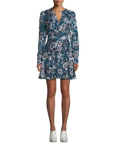 Brooke Floral-Print Flounce Short Dress