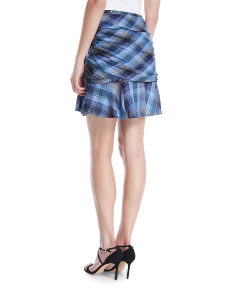 Parris Plaid Ruffle Tulip Skirt