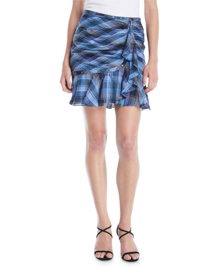 Parris Plaid Ruffle Tulip Skirt