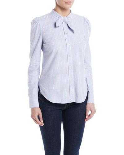 Dunbar Striped Tie-Neck Button-Front Shirt