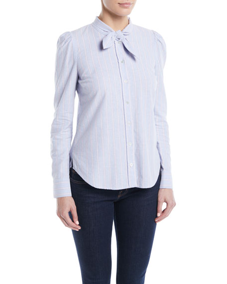 Veronica Beard Dunbar Striped Tie-Neck Button-Front Shirt