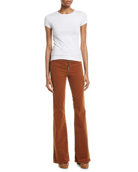 Beverly Skinny Flared Corduroy Pants w/ Button Fly