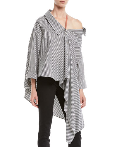 Jasmine Striped One-Shoulder Button-Front Shirt