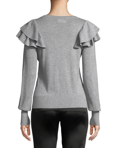 Veronica Beard Centre Ruffle Frills Crewneck Metallic-Knit Sweater