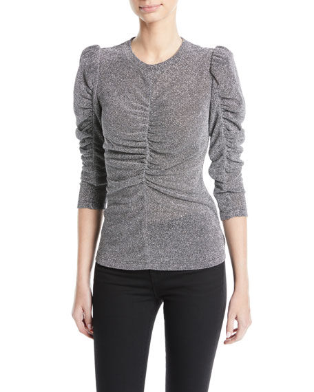 Ruched Metallic 3/4-Sleeve Top