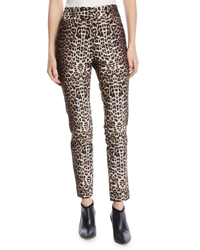 Lago Cheetah-Print Straight-Leg Trousers