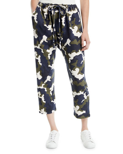 Rafiki Cropped Camo-Print French Terry Jogger Pants