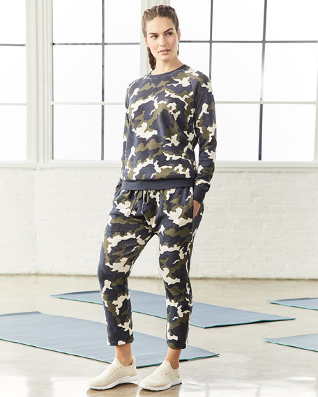 The Upside Sid Camo-Print French Terry Crewneck Top