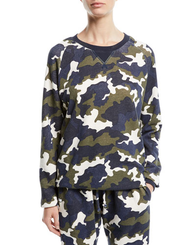 Sid Camo-Print French Terry Crewneck Top