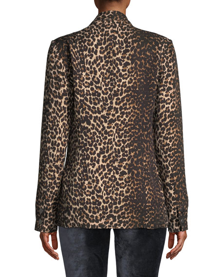 PAIGE Karissa Double-Breasted Shawl-Collar Leopard-Print Blazer
