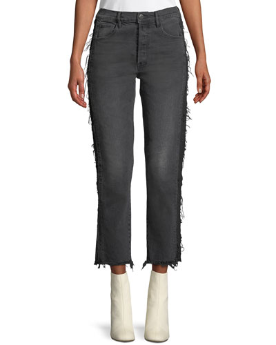 W3 Cora Cropped Straight-Leg Jeans w/ Frayed Panels