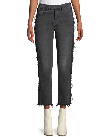 3x1 W3 Cora Cropped Straight-Leg Jeans w/ Frayed