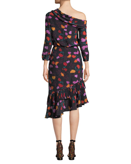 Saloni Lexie Off-the-Shoulder Floral-Print Silk Dress