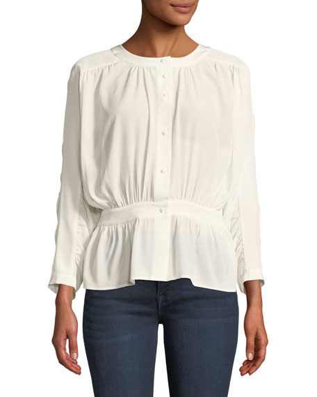 FRAME Gathered Silk Button-Front Top