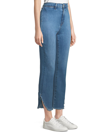 Stovepipe High-Rise Straight-Leg Jeans w/ Raw Hem