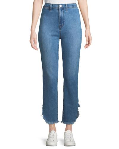 Stovepipe High-Rise Straight-Leg Jeans w/ Raw Hem