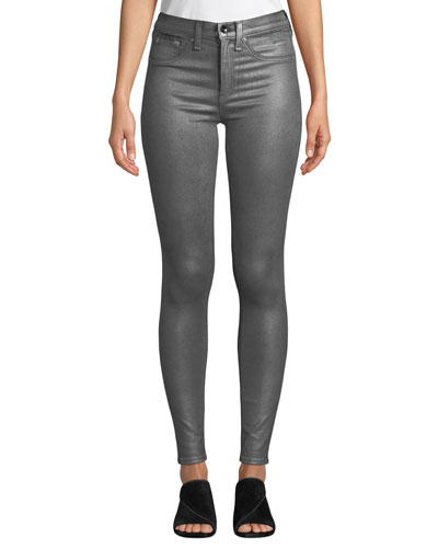 High-Rise Coated Metallic Ankle Skinny Jeans