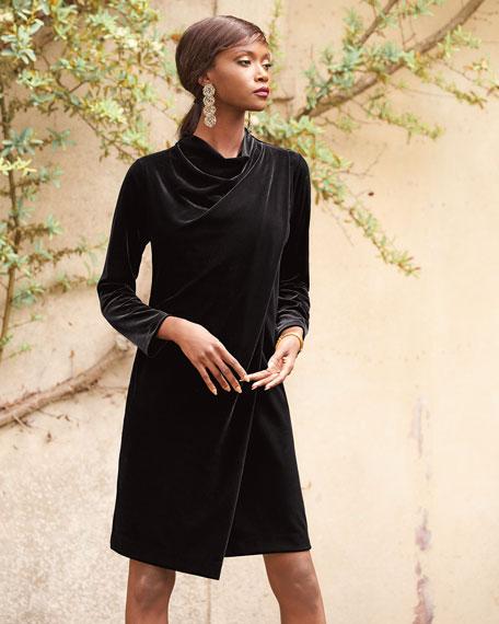Joan Vass Long-Sleeve Draped-Front Velvet Dress W/ Side