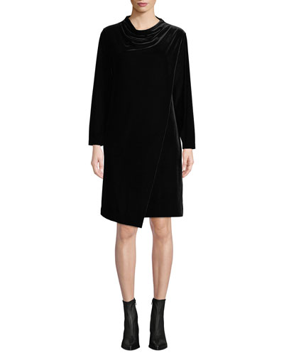 Long-Sleeve Draped-Front Velvet Dress w/ Side Pockets, Petite